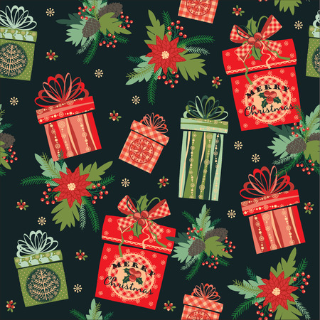 Vector illustration of Merry Christmas gifts. Design elements for posters, flyers, graphics module, paper, wallpaper. Seamless pattern.