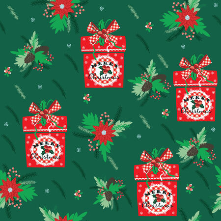 Merry Christmas and Happy New Year background. Design elements for posters, flyers, graphics module, paper, wallpaper. Seamless pattern with Christmas gifts. Vector