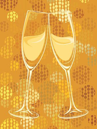 champagne bubbles: illustration of champagne glasses