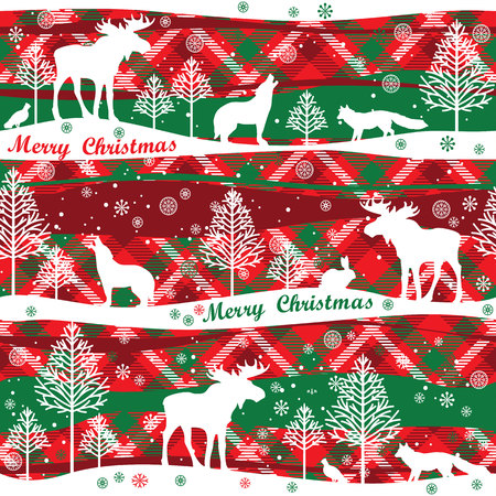 christmas plaid: Merry Christmas background.  Seamless pattern with forest, forest animals and trees. Tartan background Illustration