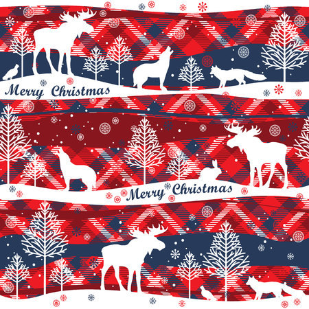 softly: Merry Christmas background.  Seamless pattern with forest, forest animals and trees. Tartan background Illustration