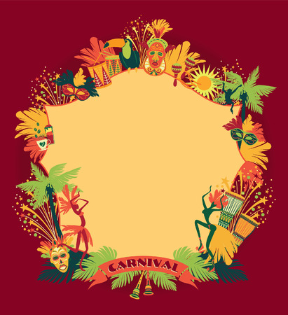 Brazilian Carnival. Vector colorful background.Frame for design. Stock Illustratie