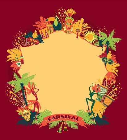 tambor: Carnaval de Brasil. Vector colorido background.Frame para el diseño.