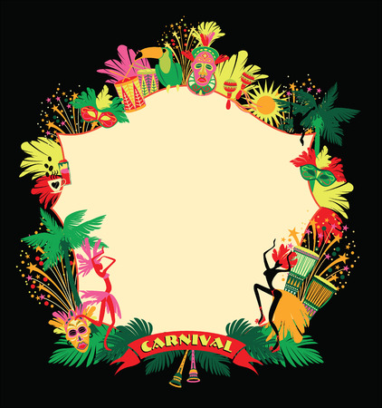 Brazilian Carnival. Vector colorful background.Frame for design.  イラスト・ベクター素材