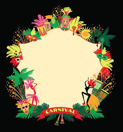 Brazilian Carnival. Vector colorful background.Frame for design. Vettoriali