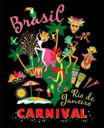 brasil: Vector illustration of Brazilian Carnival. Poster in vintage style Illustration
