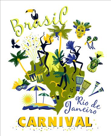 Vector illustration of Brazilian Carnival. Poster in vintage style Vettoriali