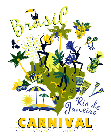 Vector illustration of Brazilian Carnival. Poster in vintage style Illustration