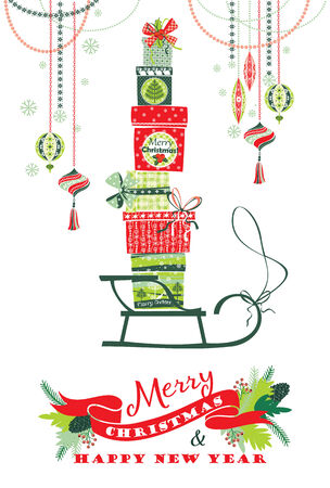 Christmas card with gift boxes. Vector Illustration. Bright artwork. Vector