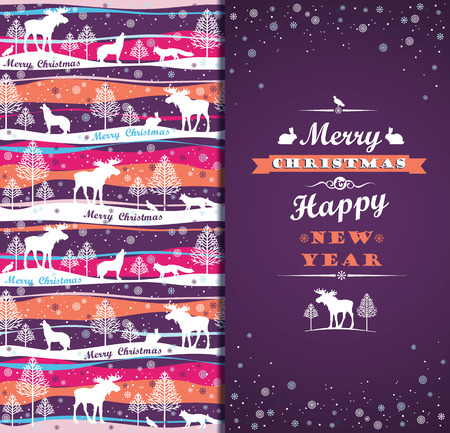 Merry Christmas background with Typography. Vector illustration. Design elements for posters, flyers, graphics module. Pattern with forest, forest animals and trees. Vector