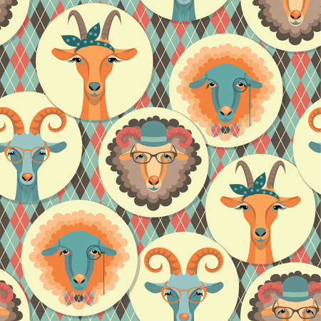 Vector illustration of goat and sheep, symbol of 2015. Hipster style. Element for New Year's design. Image of 2015 year of the goat.Seamless pattern