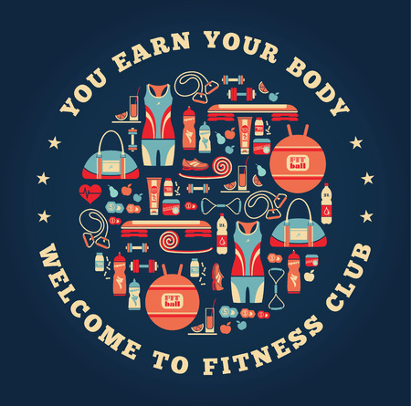 step fitness: Fitness Icons background.Vector illustration