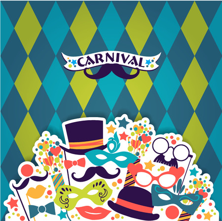 masquerade masks: Celebration festive background with carnival icons and objects. Vector illustration
