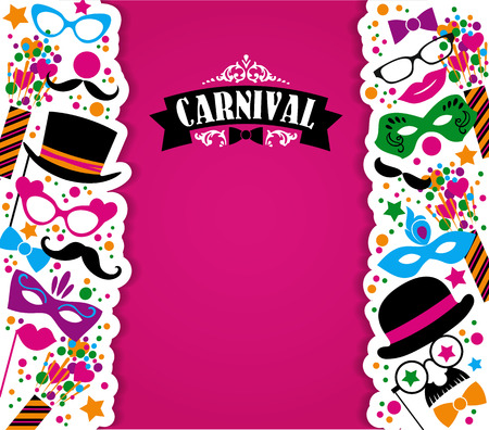 Celebration festive background with carnival icons and objects. Vector illustration