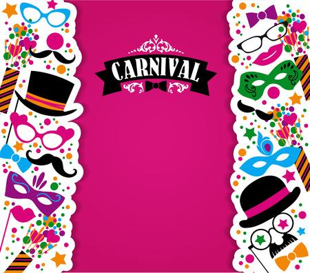 serpentinas: Celebración festiva de fondo con iconos y objetos de carnaval. Ilustración vectorial