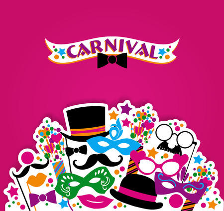 Celebration festive background with carnival icons and objects. Vector illustration Stok Fotoğraf - 36144217