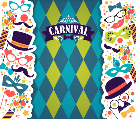 masquerade: Celebration festive background with carnival icons and objects. Vector illustration