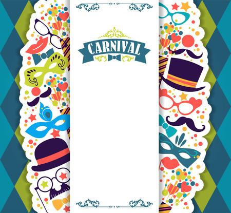 antifaz de carnaval: Celebración festiva de fondo con iconos y objetos de carnaval. Ilustración vectorial