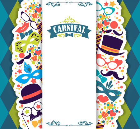 carnival mask: Celebration festive background with carnival icons and objects. Vector illustration