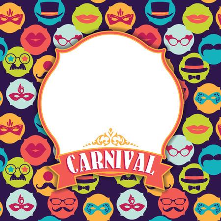 mascaras de carnaval: Celebraci�n festiva de fondo con iconos y objetos de carnaval. Ilustraci�n vectorial