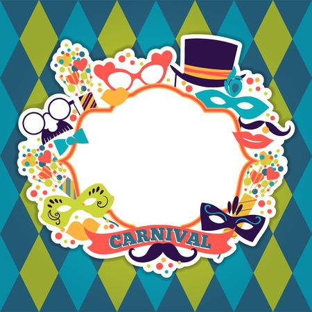 お祝いお祝い背景にカーニバルのアイコン、オブジェクト。ベクトル図