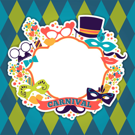 carnival: Celebration festive background with carnival icons and objects. Vector illustration