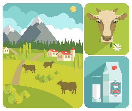 vacas lecheras: Vector ilustración moderna diseño plano de la leche. Los elementos de diseño Vectores