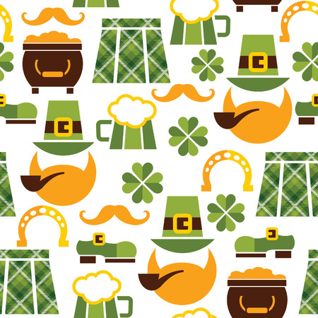 Saint Patricks Day seamless pattern. Vector illustration Vector