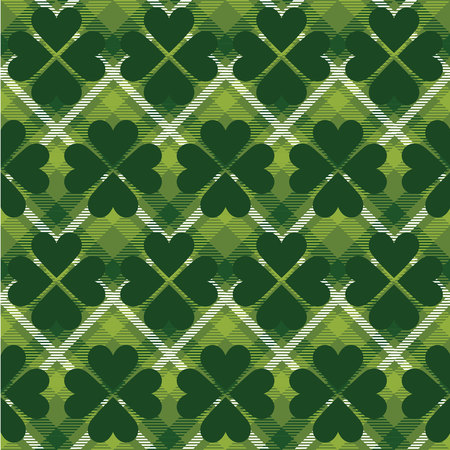 Saint Patricks Day tartan seamless pattern. Vector illustration Vector