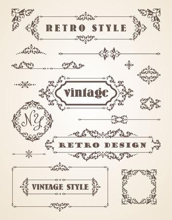 Ensemble de Retro Vintage Insignes, cadres, les étiquettes et les frontières. Les éléments de conception.