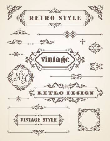 scroll shape: Set of Retro Vintage Badges, Frames, Labels and Borders. Design elements.