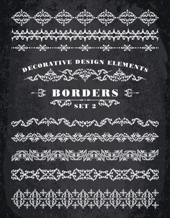 ornaments vector: Vector Ornaments Borders. Decorative Design Elements. Vintage style. Chalk Board Background