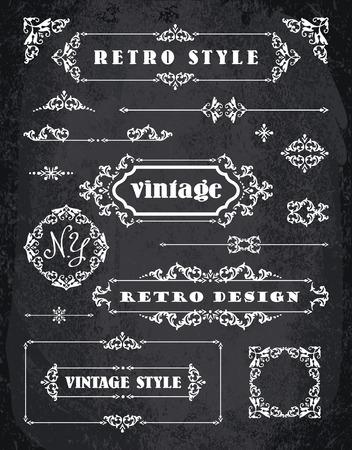 Set of Retro Vintage Badges, Frames, Labels and Borders. Design elements. Chalk Board Background 矢量图像