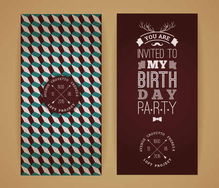 invitation card design: Happy birthday invitation, vintage retro background with geometric pattern. Hipster style. Vector illustration.