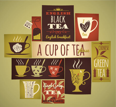 steam of a leaf: Tea collection. Vector illustration.