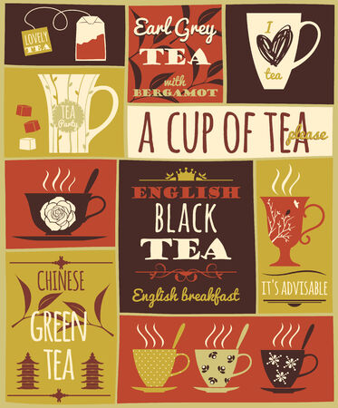 steam of a leaf: Tea collection. Vector illustration.