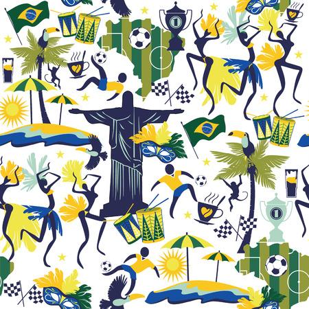 brazil symbol: Seamless pattern with traditional Brazilian items. Vector bascground. Design element.