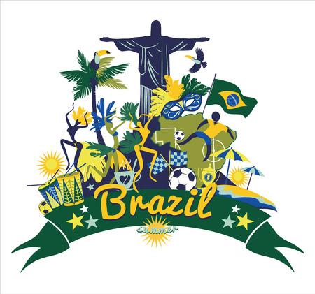 brazil symbol: Illustration of traditional Brazilian items. Vector background.Design element.