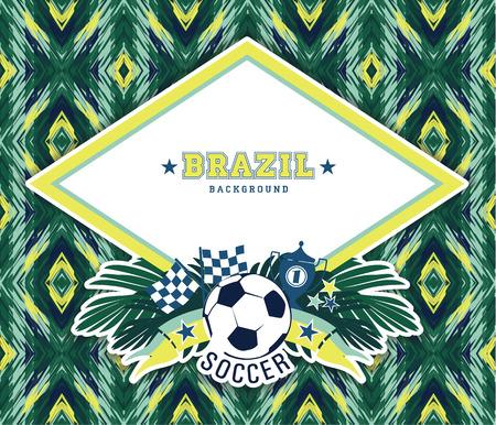 brasil: Vector frame with traditional Brazilian football theme. Design element.
