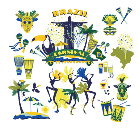 janeiro: Illustration of traditional Brazilian Carnival. Vector background.Design element.