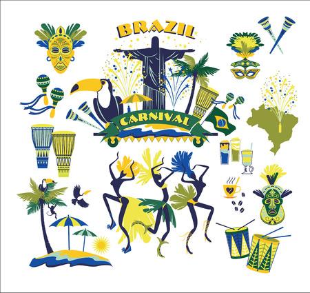 Illustration of traditional Brazilian Carnival. Vector background.Design element.
