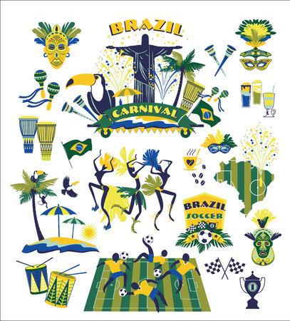 brazilian flag: Illustration of traditional Brazilian items. Vector background.Design element.
