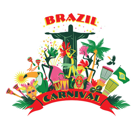 brasil: Illustration of traditional Brazilian Carnival. Vector background.Design element.