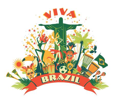 brasil: Illustration of traditional Brazilian items. Vector background.Design element.