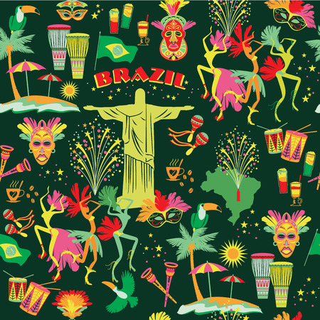 Seamless pattern with traditional Brazilian items. Vector bascground. Design element. Vector