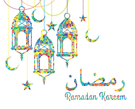 paper lantern: Ramadan Kareem. Vector Illustration.Colorful mosaic background.