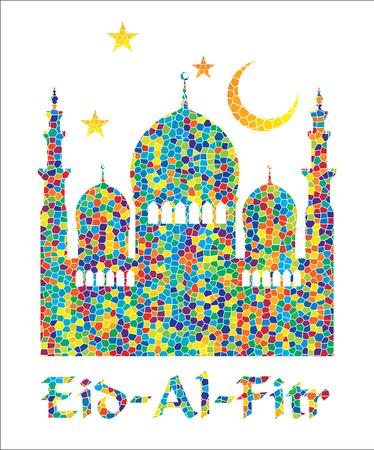 Eid Al Fitr. Vector Illustration.Colorful mosaic background.