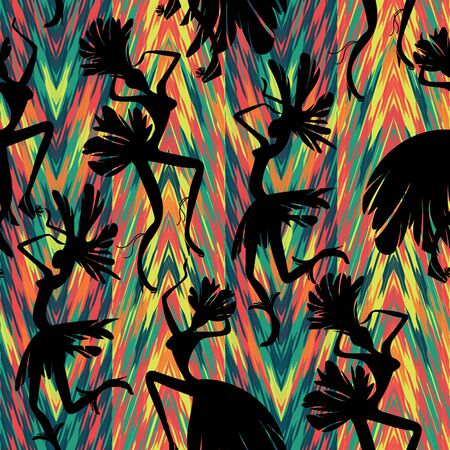 brasil: Brazilian Carnival. Vector seamless pattern with dancing women in costumes of feathers. Bright and cheerful. Illustration