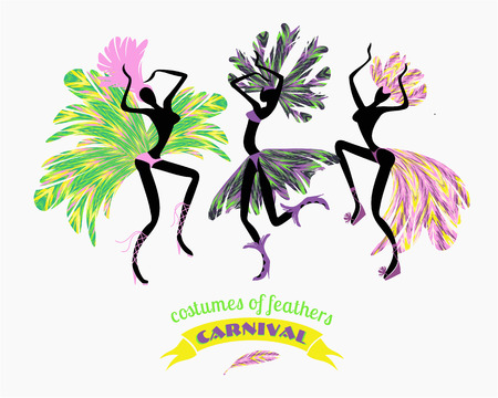 Illustration of dancing women in carnival costumes of feathers. Stylization, design element. Carnival, celebration, fun.