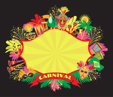 Brazilian Carnival. Vector colorful background.Frame for design.  イラスト・ベクター素材